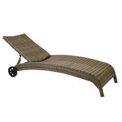 Deck chair WICKER, 73x196x99cm, aluminum frame with plastic wicker, color  cappuccino