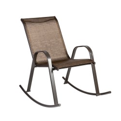 Rocking chair DUBLIN 90x63xH91cm, seat and back rest  textiline, color  golden brown, steel frame, color  dark brown