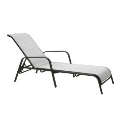 Deck chair DUBLIN 161x66,5xH48 100cm, seat and back rest  textiline, color  silver grey, steel frame, color  dark brown
