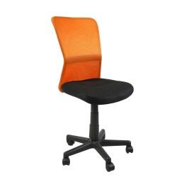Task chair BELICE 41xD42xH83-93cm, seat  fabric, color  black, back rest  mesh, color  orange
