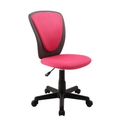 Task chair BIANCA 42x51xH82-94cm, seat and back rest  mesh fabric   imitation leather, color  pink - dark grey