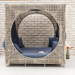 Day bed CUBIC 184x184xH193cm, steel frame with plastic wicker, color  beige