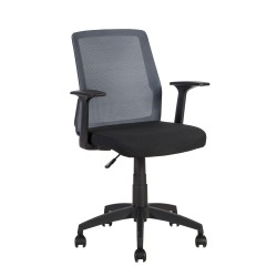Task chair ALPHA 60x55xH87,5-95cm, seat  fabric, color  black, back rest  mesh fabric, color  grey