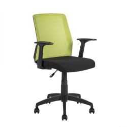 Task chair ALPHA 60x55xH87,5-95cm, seat  fabric, color  black, back rest  mesh fabric, color  green